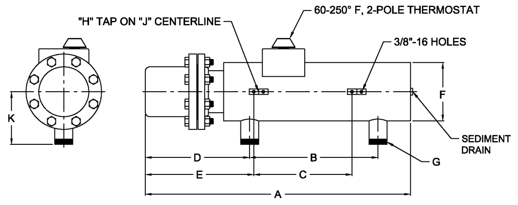 3 5 8 150 flanged circulation heaters accutherm rh accutherm com 3 Phase Wiring Schematic 240 Volt 3 Phase Wiring